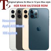 Apple original iPhone Xsmax dans un téléphone de style 12 Pro MAX débloqué avec 12Prodrax Boxcamera Apparence 4G RAM 256GB ROM Smartphone