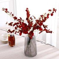 Dekorative Blumen Kränze Künstliche Orchidee 5 Zweig hochwertige Seide Oncidium Hybridum Tanzen-Puppe für Home Hochzeit Garten Dekor