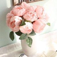 6 têtes artificielles rose pivoine soik fleur bouquet de bouquet Valentines anniversaire cadeau cadeau cadeau mariage maison table arrangements décoration 241 s2