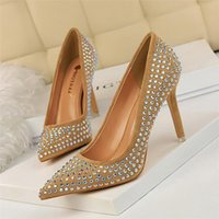 Dress Shoes Crystal Rhinestone Heels Valentine Women Pumps Stiletto Ladies High Evening Black Sexy Buty