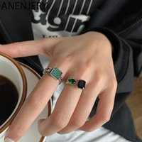 Anenjery Vintage Yeşil Siyah Taş Kadınlar Için 925 Ayar Gümüş Yüzükler Düğün Hediyesi Lüks Günlük Takı S-R950