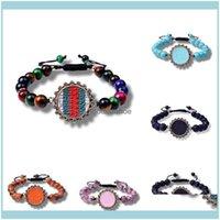 Bracelets Originality Pure Natural Crystal Semi-Precious Stones Pendant Bracelet Charm Women Weave Tiger Eye Emperor Colorf Stone Beads Bang