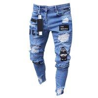 Moda Erkek Kot Trend Diz Delik Fermuar Tayt Işlemeli Denim Pantolon Rahat Kumaş Çok Renkli Pantolon