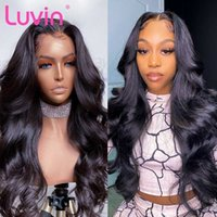 Luvin barato 26 26 28 30 3 3 3 36 38 40 polegadas onda corporal glúel lace dianteira perucas de cabelo humano para mulheres peruca frontal brasileira arrancado remy