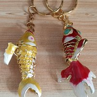 Único 5,5 cm Swing Lifelike Esmalte Goldfish Keychain Keyring Chinês Cloisonne Jóias Koi Chaveiro Chaveiro Encantos Pingente Presentes com Caixa