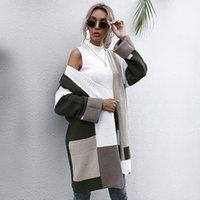Негабаритные кардиганы повседневные лоскутное цветное осень зима густой теплый вязаный свитер пальто для женщин 2021 новая мода fx2o