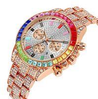 Pintime Красочный хрустальный алмазный кварцевый свидание Мужские часы Декоративные три дабдика сияющие часы фабрики прямые роскошные розовые золотые наручные часы