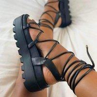 Sandals Black Summer Women Students Flat Platform Wedge Shoes Genuine Leather Gladiator Female Outdoor Beach
