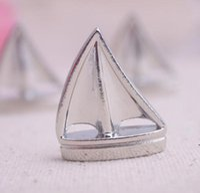 Thema Platz Kartenhalter Segelboot Silber Strand Tischnummer Karten Clips Bild Name Frame Hochzeit Liefert OWF8666
