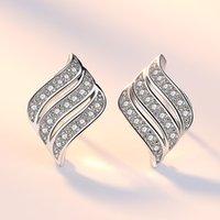 Néhzy 925 Sterling Silver Nouvelle Femme Mode Bijoux de mode de haute qualité Zircon Angel ailes pleines de cristal Super Flash boucles d'oreilles 1179 T2