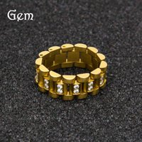 Ring Stainless Steel Micro Inlaid Zircon Color Preserving Electroplating Men's and Women's Hip Hop Watch Chain Aaaczstone