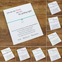 2021 Modeschmuck Wunsch Armband mit Geschenkkarte Wunschkarte Sterne Charme Armband für Frauen Männer Mädchen Freundschaft Geschenk