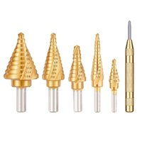 Professional Drill Bits 5PCS Titanium Spiral Grooved Step Bit Set With Automatic Center Punch Unibit For Sheet Metal Aluminum