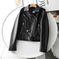 Ailegogo Spring Women Streetwear Biker Leather Jacket Slim Fit Turn Down Collar Coat Outwear with Belt Black Pu Faux 210915
