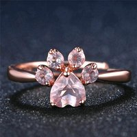 Wedding Rings Cute Bear Cat Claw Opening Rose Gold For Women Romantic Pink Crystal Love Gifts Jewelry Adjustable Ring