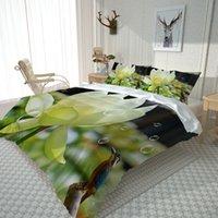 사용자 정의 신선한 이불 커버 녹색 루트 침구 세트 커버 세트 베갯잇 침대 린넨 시트 퀼트 3D 침구 세트
