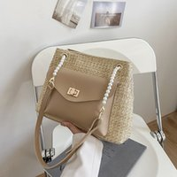 Straw Bag ins large capacity bags women 2021 new fashion summer Tote Handbag splicing messenger stray Purse PU leather