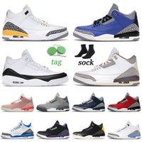 nike air jordan retro 3 Baskets Originales 2021 Arrivée Chaussures De Basket-ball Surélevé Fragment De Ciment Noir Cool Gris Jumpman Hommes Femmes Knicks Rivals Formateurs Sports