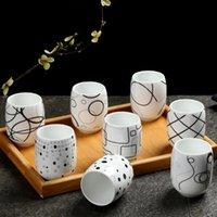 Cups & Saucers Japanese Ceramic Geometric Lines Printing Tea Cup Porcelain Modern Simple Water Mug Restaurant Office Teacup Drinkwar