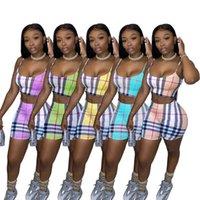 Verano Mujeres Dos Piezas Conjuntos 2021 Diseñadores Trajes Sling Traje Irregular Impresión Delgada Pantalones Slim