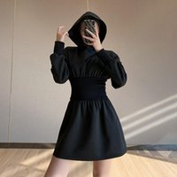Casual Dresses Fashion Women's Dress Summer Hooded Collar Pullover Solid Color Sexy Waist Slim Slimming Donsignet