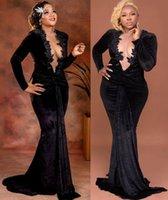 2021 Plus Size Arabic Aso Ebi Black Mermaid Velvet Prom Dresses Lace Beaded Sheer Neck Evening Formal Party Second Reception Gowns Dress ZJ202