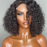 Baby Pre-pull Short Wig Deep Wave Forehead Wig Lace Front Human Hair Wig Black Female Human Hair Brazil
