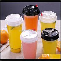 700ml 24 oz tazas de plástico desechables bebidas frías bebidas calientes jugo café lechoso taza taza espesar herramienta de bebida transparente con tapa WNI1D EA43L