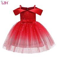LZH Flower Girls Wedding Dress Kids Dresses For Girls Elegant Princess Evening Party Dress Children Christmas Costume 8 10 Year 210726