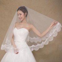 Bridal Weits Белая невеста вуаль кружева края свадьба Vail 1,5 м короткие однослойные Viels Accesorios Novia Voile de Mariee