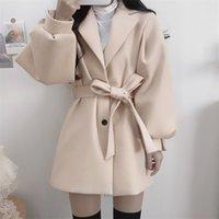 Fashion Autumn High Wide Waist Wool & Blends Black Long Sleeve Turn Down Collar Coat Winter Sashes Slim Korean Jacket Wild 211019