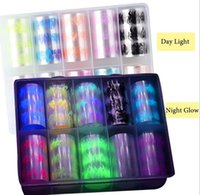 10 Roll Box Luminous Fire Flame Foil Set Nail Art Transfer Sticker Decal Yellow Blue Slider Starry Papers Decoration