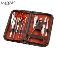 Set 10in1 Pedicure Manicure Tool Nail Art In Acciaio Inox Cuticle Clippers Nipper Forbici Cleaner Grooming Kit Caso