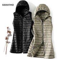 Sedutmo Kış Kadın Aşağı Ceketler Ultra Hafif Uzun Kapşonlu Yelek Casual Yelek Sonbahar Ceket Ince Parkas ED913 210923