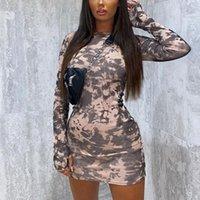 여성 긴 소매 인쇄 세련된 라운드 넥 바디 콘 슬림 가을 드레스 매일 착용