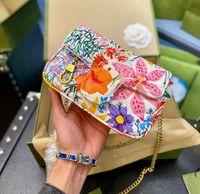 Moda Messenger Çanta Renkli Çiçek Baskı Tasarımcısı Zincir Bagg Trendy Mizaç Kadın Omuz Çantası WF2103051
