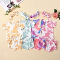 kids Clothing Sets Girls outfits infant toddler Tie dye Tops+shorts+Bow Headband 3pcs set summer fashion Boutique baby clothes Z4337