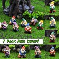 7 Pack Miniature Gnome Figurines Mini Garden Dwarf Ornaments Set Resin Fairy Statues Flower Pot Micro Landscape Decorations 210929