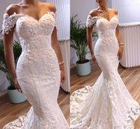 2021 Elegant Mermaid Wedding Dresses Bridal Gown Short Sleeves Off Shoulder Lace Applique Sweep Train Custom Made Plus Size Formal Dress Vestido de novia