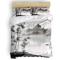 مجموعات الفراش الحبر المشهد اللوحة حاف الغطاء مجموعة مع وسادة نوم لوازم السرير المعزون حجم الملك