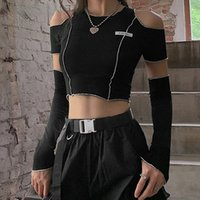E-girl Style Patchwork Black T-shirts Gothic Open Shoulder Sleeve Crop Tops Ruffles Hem Hip Hop Techwear Women Tee