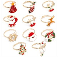 50pcs lot mixed NEW Fashion Christmas Jewelry Gold plated Crystal Enamel Open Rings For Baby
