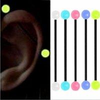 5 قطعة / المجموعة توهج في الظلام الاكريليك المقابس الصناعية بار سقالة الأذن الحديد حلقة ثقب مثير القرط الجسم مجوهرات