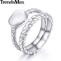 Wedding Rings Trendsmax Rope Heart Love Ring Set Womens Girls Stainless Steel Band Silver Color Tone 12mm KKR113