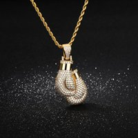 Pendant Necklaces Bling Boxing Gloves Necklace For Women Men Charm Free Rope Chain Gold Color Iced Cubic Zircon Hip Hop Jewelry