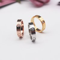 Rose Gold Stainless Steel Crystal Woman Jewelry Love Rings Men Promise Rings For Female Women Gift Engagement With bag