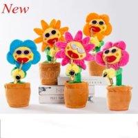 2021 Dance Sunflowers carino incantevole peluche giocattoli musicali fatti a mano luminescenza elettrici incantesimi fiori romanzo stile sax sing danza divertente styling cambiamento 496