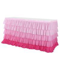 5 레이어 그라데이션 핑크 쉬폰 웨이브 테이블 치마 웨딩 파티 용품