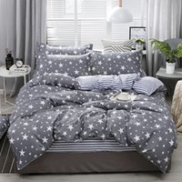4 adet Yatak Pamuk Seti Süper Kral Nevresim Seti Moda Çarşaf Gri Polyester Nevresim Kral Lüks Yatak Setleri 97 V2