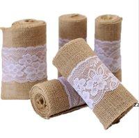 Burlap tyg för hantverk burlap spetsband stora fall ribbons kransar vinterband diy hantverk bröllop dekoration hwb8722